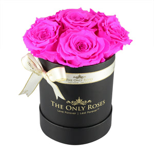 Hot Pink Preserved Roses | Small Black Round Rose Hat Box