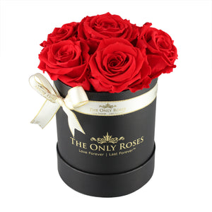 Red Preserved Roses | Small Black Round Rose Hat Box