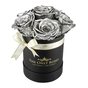 Silver Preserved Roses | Small Black Round Rose Hat Box