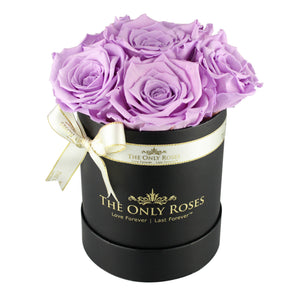 Light Purple Preserved Roses | Small Black Round Rose Hat Box