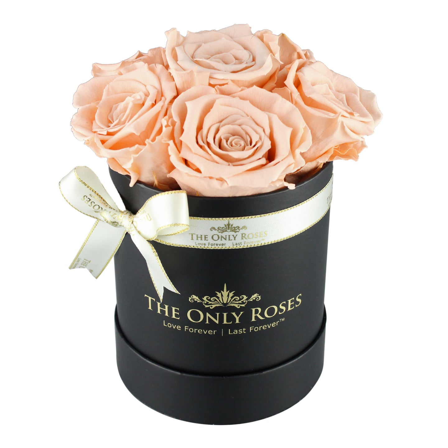 Peach Color Preserved Roses | Small Black Round Rose Hat Box