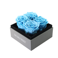 Load image into Gallery viewer, Blue Preserved Roses | Small Square Classic Grey Box - The Only Roses