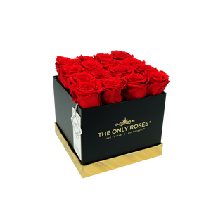 Red Preserved Roses | Square Black Huggy Rose Box - The Only Roses