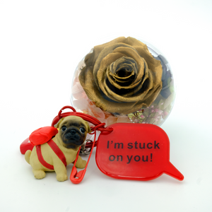 Gold Preserved Rose | English Bulldog Keychain - The Only Roses