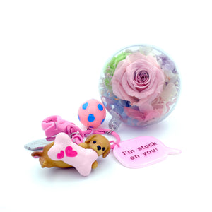 Light Pink Preserved Rose | Labrador Puppy Keychain - The Only Roses