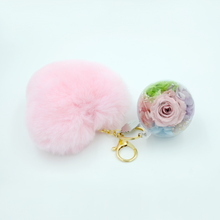 Load image into Gallery viewer, Light Pink Preserved Rose | Pink Fluffy Heart Keychain - The Only Roses