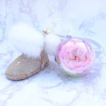 Load image into Gallery viewer, Pink Preserved Garden Rose | Sand Color Winter Boots Keychain - The Only Roses