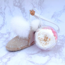 Load image into Gallery viewer, White Preserved Garden Rose | Sand Color Winter Boot Keychain