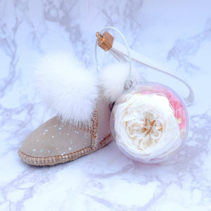White Preserved Garden Rose | Sand Color Winter Boots Keychain