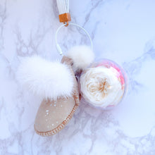 Load image into Gallery viewer, White Preserved Garden Rose | Sand Color Winter Boots Keychain