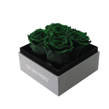 Load image into Gallery viewer, Dark Green Preserved Roses | Small Square Classic Grey Box - The Only Roses