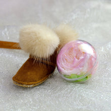 Load image into Gallery viewer, Pink Preserved Garden Rose | Chestnut Color Winter Boots Keychain - The Only Roses
