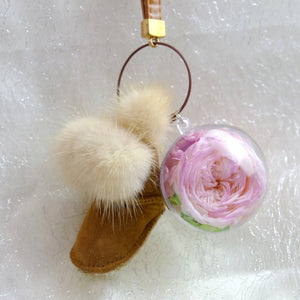 Pink Preserved Garden Rose | Chestnut Color Winter Boots Keychain - The Only Roses
