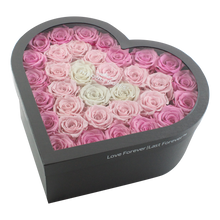 Load image into Gallery viewer, Pink Fading Preserved Roses  | Large Heart Classic Grey Box