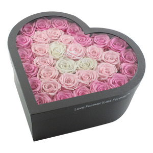 Pink Fading Preserved Roses  | Large Heart Classic Grey Box