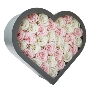 Light Pink & White Preserved Roses Mix | Large Heart Classic Grey Box