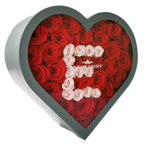 Letter E Pink & Red Preserved Roses | Large Heart Classic Grey Box