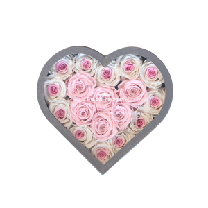 White & Light Pink Preserved Roses Halo | Medium Heart Classic Grey Box