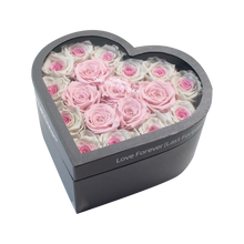 Load image into Gallery viewer, White & Light Pink Preserved Roses Halo | Medium Heart Classic Grey Box