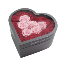 Load image into Gallery viewer, Red & Light Pink Preserved Roses Halo | Medium Heart Classic Grey Box