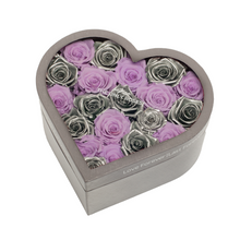 Load image into Gallery viewer, Silver & Light Purple Preserved Roses | Medium Heart Classic Grey Box - The Only Roses