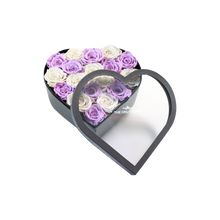 Load image into Gallery viewer, White & Light Purple Preserved Roses Mix | Medium Heart Classic Grey Box