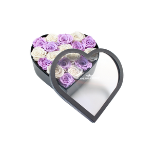 White & Light Purple Preserved Roses Mix | Medium Heart Classic Grey Box