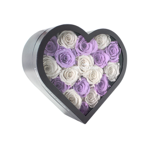 White & Light Purple Preserved Roses Mix