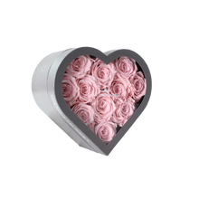 Load image into Gallery viewer, Light Pink Preserved Roses | Small Heart Classic Grey Box