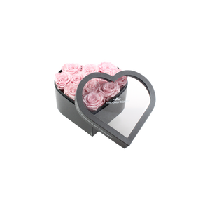 Light Pink Preserved Roses | Small Heart Classic Grey Box