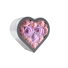 Load image into Gallery viewer, Light Pink & Light Purple Preserved Roses Halo | Small Heart Classic Grey Box