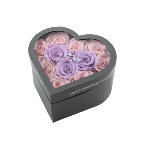 Light Pink & Light Purple Preserved Roses Halo | Small Heart Classic Grey Box