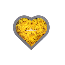 Load image into Gallery viewer, Yellow Preserved Roses | Small Heart Classic Grey Box