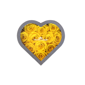 Yellow Preserved Roses | Small Heart Classic Grey Box
