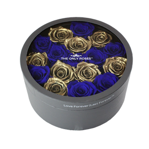 Gold & Royal Blue Preserved Roses | Medium Round Classic Grey Box