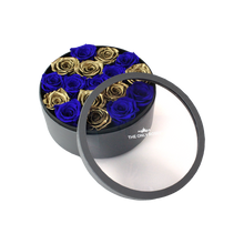 Load image into Gallery viewer, Gold & Royal Blue Preserved Roses | Medium Round Classic Grey Box