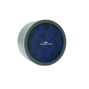 Royal Blue Preserved Roses | Small Round Classic Grey Box
