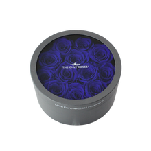 Load image into Gallery viewer, Royal Blue Preserved Roses | Small Round Classic Grey Box