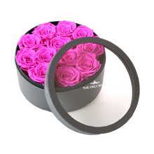 Load image into Gallery viewer, Hot Pink Preserved Roses | Small Round Classic Grey Box