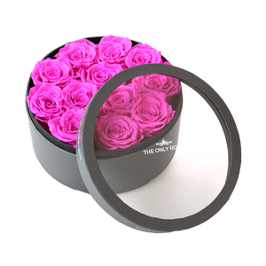 Hot Pink Preserved Roses | Small Round Classic Grey Box