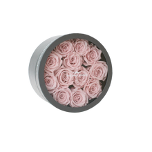 Load image into Gallery viewer, Light Pink Preserved Roses | Small Round Classic Grey Box
