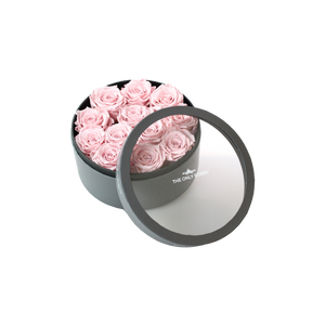 Light Pink Preserved Roses | Small Round Classic Grey Box