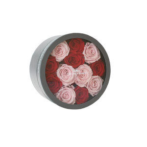 Red and Light Pink Preserved Roses | Small Round Classic Grey Box