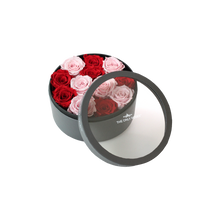 Load image into Gallery viewer, Red and Light Pink Preserved Roses | Small Round Classic Grey Box
