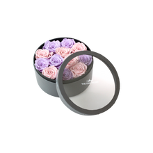 Load image into Gallery viewer, Light Purple and Light Pink Preserved Roses | Small Round Classic Grey Box