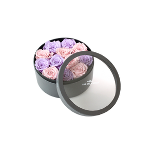 Light Purple and Light Pink Preserved Roses | Small Round Classic Grey Box