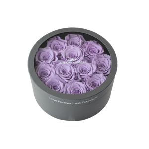 Light Purple Preserved Roses | Small Round Classic Grey Box