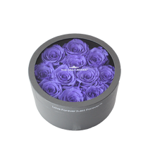 Load image into Gallery viewer, Purple Preserved Roses | Small Round Classic Grey Box