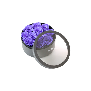 Purple Preserved Roses | Small Round Classic Grey Box
