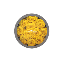 Load image into Gallery viewer, Yellow Preserved Roses | Small Round Classic Grey Box